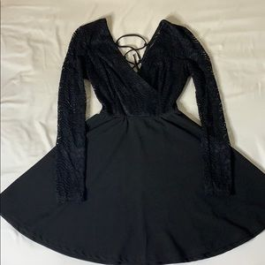 Black lace flare dress - long sleeve